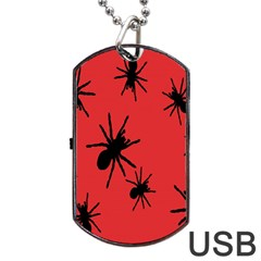 Illustration With Spiders Dog Tag Usb Flash (two Sides) by Nexatart