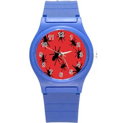 Illustration With Spiders Round Plastic Sport Watch (s) by Nexatart