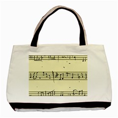 Music Notes On A Color Background Basic Tote Bag by Nexatart