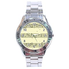 Music Notes On A Color Background Stainless Steel Analogue Watch by Nexatart