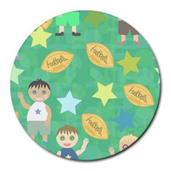 Football Kids Children Pattern Round Mousepads by Nexatart