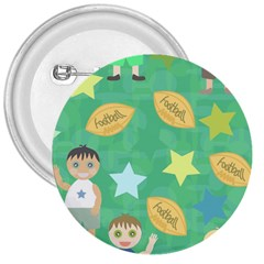 Football Kids Children Pattern 3  Buttons by Nexatart