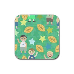 Football Kids Children Pattern Rubber Coaster (square)  by Nexatart