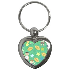 Football Kids Children Pattern Key Chains (heart)  by Nexatart