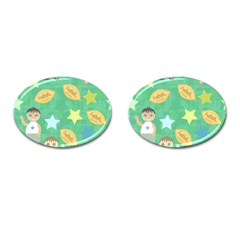 Football Kids Children Pattern Cufflinks (oval) by Nexatart