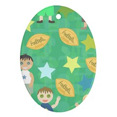 Football Kids Children Pattern Oval Ornament (two Sides) by Nexatart
