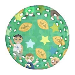 Football Kids Children Pattern Round Filigree Ornament (two Sides) by Nexatart