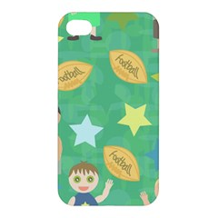 Football Kids Children Pattern Apple Iphone 4/4s Premium Hardshell Case