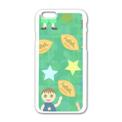 Football Kids Children Pattern Apple Iphone 6/6s White Enamel Case by Nexatart