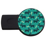 Happy Dogs Animals Pattern USB Flash Drive Round (2 GB) Front