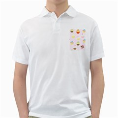 Seamless Cupcakes Wallpaper Pattern Background Golf Shirts