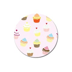 Seamless Cupcakes Wallpaper Pattern Background Magnet 3  (round) by Nexatart