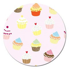 Seamless Cupcakes Wallpaper Pattern Background Magnet 5  (round) by Nexatart