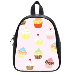 Seamless Cupcakes Wallpaper Pattern Background School Bags (small)