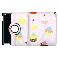 Seamless Cupcakes Wallpaper Pattern Background Apple Ipad 2 Flip 360 Case by Nexatart
