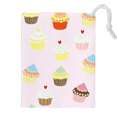 Seamless Cupcakes Wallpaper Pattern Background Drawstring Pouches (xxl)