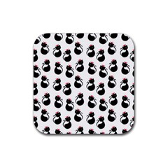 Cat Seamless Animals Pattern Rubber Square Coaster (4 Pack)  by Nexatart