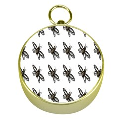 Insect Animals Pattern Gold Compasses by Nexatart