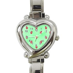 Pretty Background With A Ladybird Image Heart Italian Charm Watch