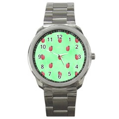 Pretty Background With A Ladybird Image Sport Metal Watch by Nexatart