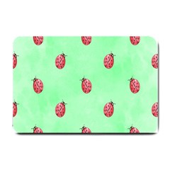 Pretty Background With A Ladybird Image Small Doormat  by Nexatart