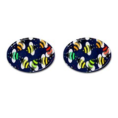 Bees Cartoon Bee Pattern Cufflinks (oval) by Nexatart