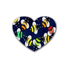 Bees Cartoon Bee Pattern Rubber Coaster (heart)  by Nexatart