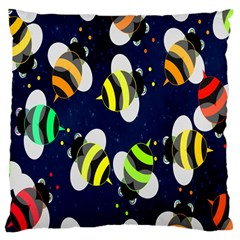 Bees Cartoon Bee Pattern Large Cushion Case (one Side) by Nexatart