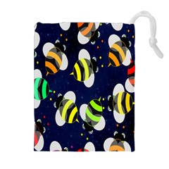 Bees Cartoon Bee Pattern Drawstring Pouches (extra Large)