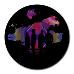 Abstract Surreal Sunset Round Mousepads by Nexatart