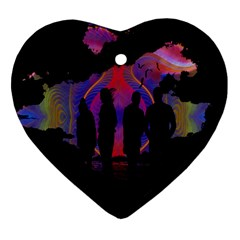 Abstract Surreal Sunset Heart Ornament (two Sides) by Nexatart