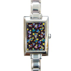 Bees Animal Insect Pattern Rectangle Italian Charm Watch by Nexatart
