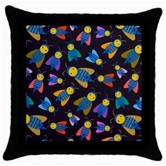 Bees Animal Insect Pattern Throw Pillow Case (black) by Nexatart