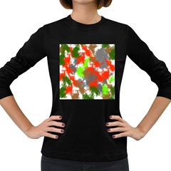 Abstract Watercolor Background Wallpaper Of Splashes  Red Hues Women s Long Sleeve Dark T Shirts
