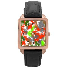Abstract Watercolor Background Wallpaper Of Splashes  Red Hues Rose Gold Leather Watch  by Nexatart