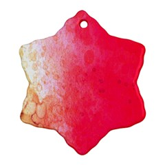 Abstract Red And Gold Ink Blot Gradient Snowflake Ornament (two Sides) by Nexatart