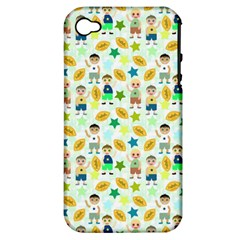 Football Kids Children Pattern Apple Iphone 4/4s Hardshell Case (pc+silicone) by Nexatart