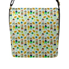 Football Kids Children Pattern Flap Messenger Bag (l)  by Nexatart