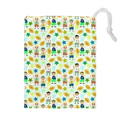 Football Kids Children Pattern Drawstring Pouches (extra Large) by Nexatart