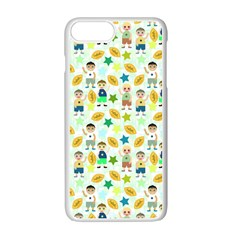 Football Kids Children Pattern Apple Iphone 7 Plus White Seamless Case by Nexatart
