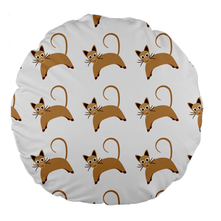 Cute Cats Seamless Wallpaper Background Pattern Large 18  Premium Round Cushions