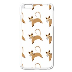 Cute Cats Seamless Wallpaper Background Pattern Apple Iphone 6 Plus/6s Plus Enamel White Case