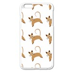 Cute Cats Seamless Wallpaper Background Pattern Apple iPhone 6 Plus/6S Plus Enamel White Case Front