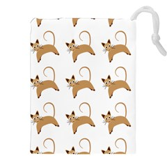 Cute Cats Seamless Wallpaper Background Pattern Drawstring Pouches (xxl) by Nexatart