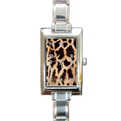 Yellow And Brown Spots On Giraffe Skin Texture Rectangle Italian Charm Watch by Nexatart