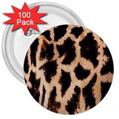 Yellow And Brown Spots On Giraffe Skin Texture 3  Buttons (100 Pack)