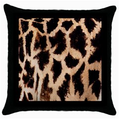 Yellow And Brown Spots On Giraffe Skin Texture Throw Pillow Case (black) by Nexatart