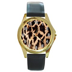 Yellow And Brown Spots On Giraffe Skin Texture Round Gold Metal Watch by Nexatart