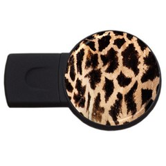 Yellow And Brown Spots On Giraffe Skin Texture Usb Flash Drive Round (2 Gb)