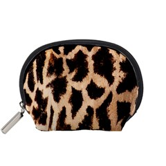 Yellow And Brown Spots On Giraffe Skin Texture Accessory Pouches (small)